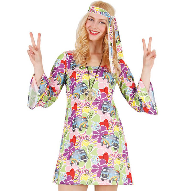 60er hippie look hippie kleid stirnband damen gr e s. Black Bedroom Furniture Sets. Home Design Ideas