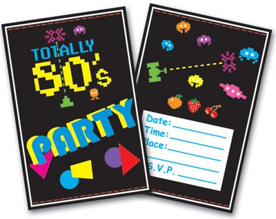 ... -Partys Achtziger - 80er Jahre Einladungskarten - 80er-Jahre-Party