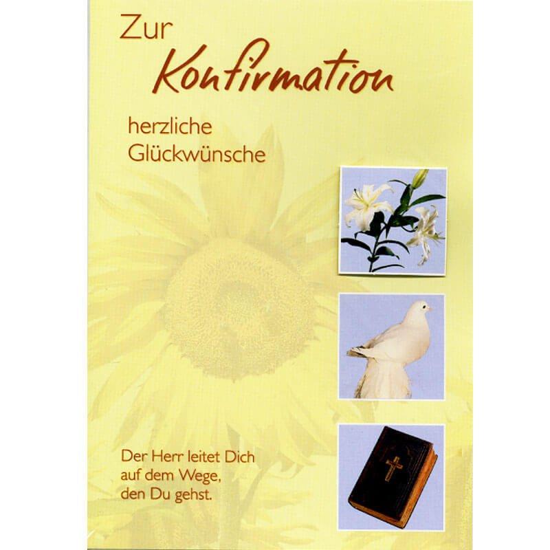 Konfirmation Glückwunschkarte   Lilie, Taube U0026 Bibel
