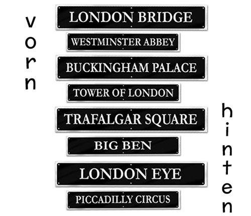 London Deko Set Hinweisschilder