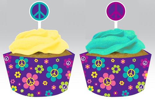 muffin deko set 60er jahre peace flower power. Black Bedroom Furniture Sets. Home Design Ideas