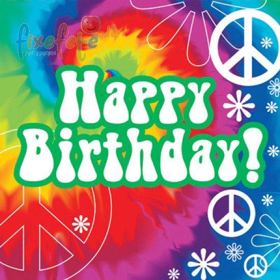 Servietten   60er Jahre   Happy Birthday