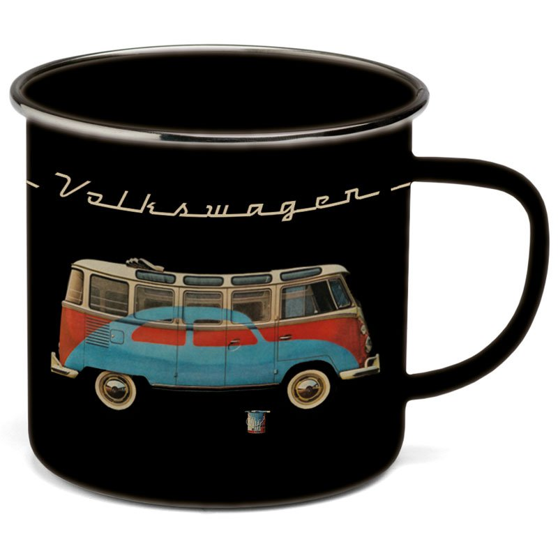 vw t1 bulli tasse schwarz emaille. Black Bedroom Furniture Sets. Home Design Ideas