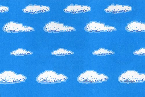 wanddeko 8 bit himmel wolken. Black Bedroom Furniture Sets. Home Design Ideas
