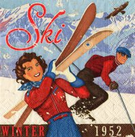 Cocktail-Servietten - Apres-Ski Vintage - Winter 1952