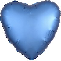 Folienballon HERZ Satin-Luxus - BLAU...
