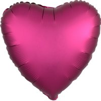 Folienballon HERZ Satin-Luxus - MAGENTA...