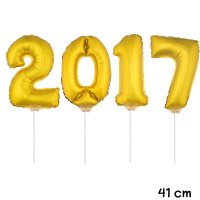 Folienballon Set Silvester 2017 gold - 41 cm