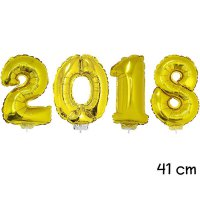 Folienballon Set Silvester-Deko 2018 gold - 41 cm