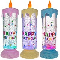 LED - Liquid-Kerze - Happy Birthday - Farbwechsel &...