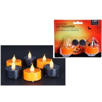 LED-Teelicht - Gruselparty - orange - flackernd - 2er Pack