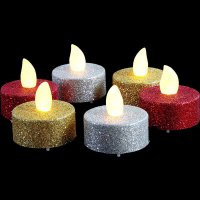 LED-Teelicht - gold Glitter - flackernd - 2er Pack