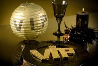 Lampions - VIP-Party - gold-schwarz - 2er Set