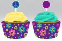Muffin-Deko-Set - 60er Jahre - Peace & Flower Power