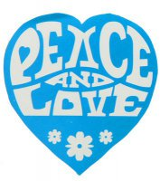 Peace & Love - Hippie-Sticker 60er Jahre - blau - 50 St�ck