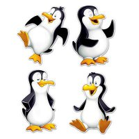 Pinguin - Dekoration - witzig - 4er Pack