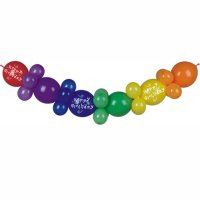 Regenbogen Ballon-Girlande Happy Birthday - Ballon-Set