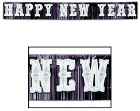 Riesen-Fransen-Banner - Happy New Year - metallic