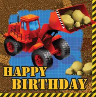 Servietten - Baustelle - Radlader - Happy Birthday