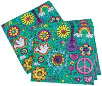 Servietten - Peace & Flower Power