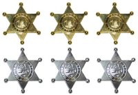 Sheriff-Stern-Set - silber / gold - 6 St�ck