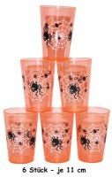 Spinnen-Becher - orange - 6 St�ck