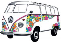 VW Bus T1 - Flower Power Samba-Bus - Wandtattoo