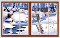 Winter-Fenster - Wand-Deko