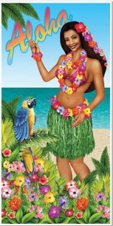 Aloha - Luau - Hula-Girl - Beachparty - Tür-Deko