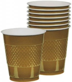 Becher - gold - metallic - Plastik - 10 St�ck