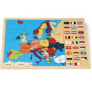 Holz-Puzzle - Europa mit Flaggen