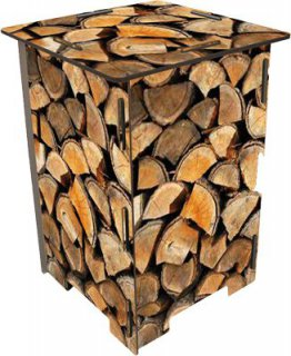 Holz-Stapel - Hocker