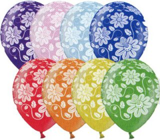 Luftballons - Flower Power - metallic-bunt
