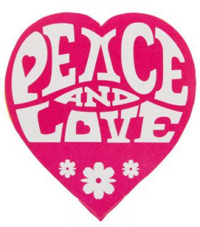Peace & Love - Hippie-Sticker 60er Jahre - pink - 50 St�ck