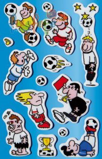 Puffy-Sticker - Fussball mit Pokal