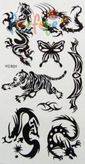 Tattoo schwarz - Drache, Tiger & Co.