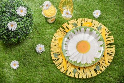 Tischdeko mit Gänseblümchenmotiv