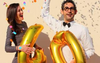 40. Geburtstagsparty mit großen Zahlenballons