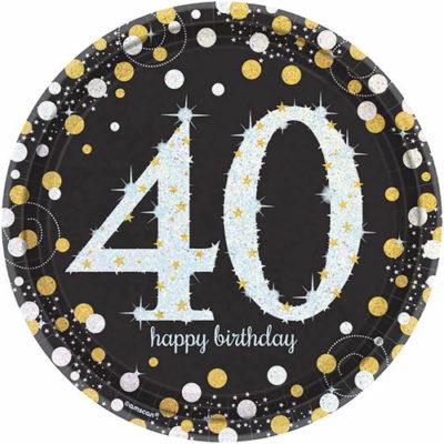 Gold-silberne Teller zum 40. Geburtstag mit Ziffer