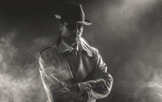 Geheimagent schwarz weiß Filmparty