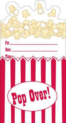 Kino-Party Einladung Popcorn