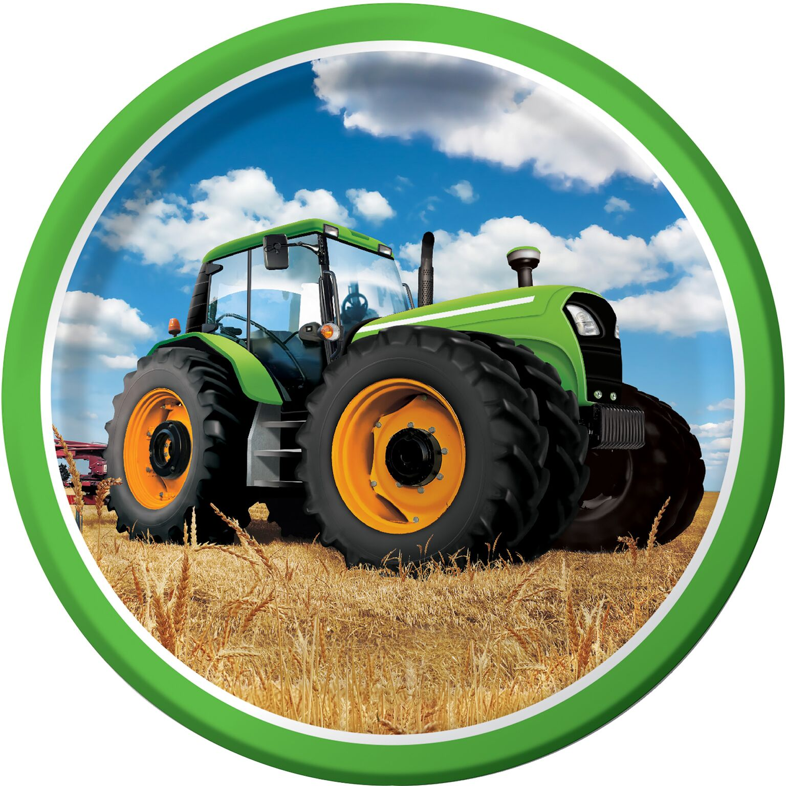 Teller-mit-grossem-Traktor-gruen