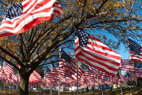 wehende USA-Fahnen zum Unabhaengigkeitstag