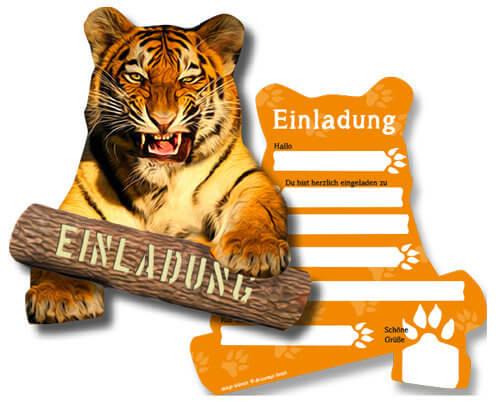 Einladungskarte Dschungelparty Motiv Tiger