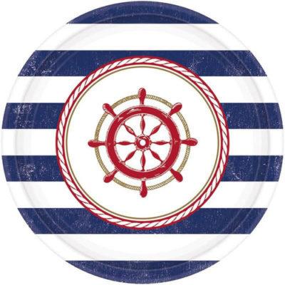 Maritime Party Teller mit Seerad-Motiv