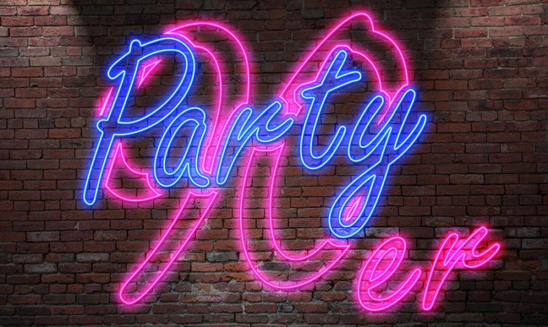 90er Jahre Party Leuchtschrift