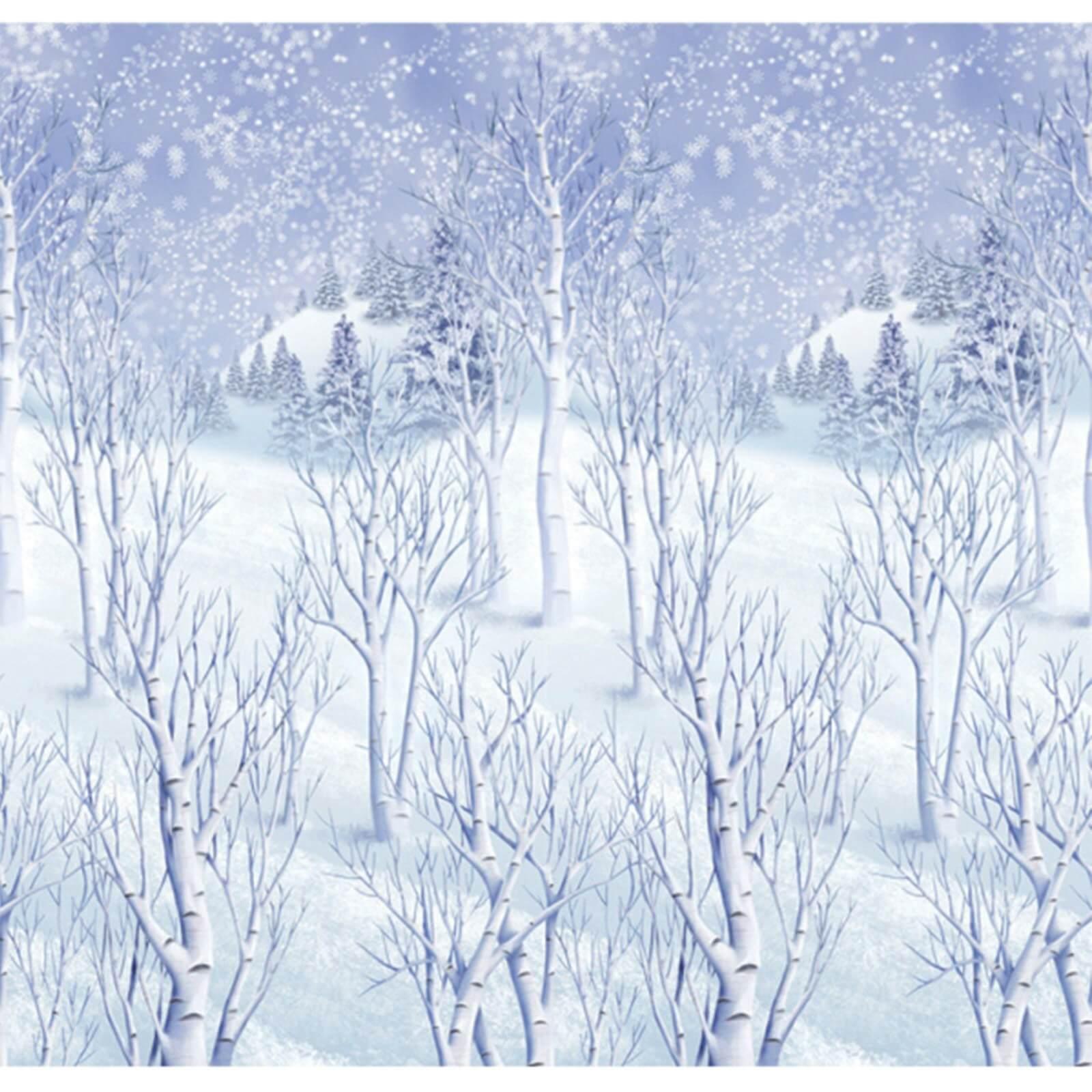 Winterwald verschneite landschaft kulisse wanddeko - Winterlandschaft dekoration ...