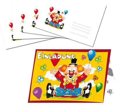 Einladungskarten - Clown-Party