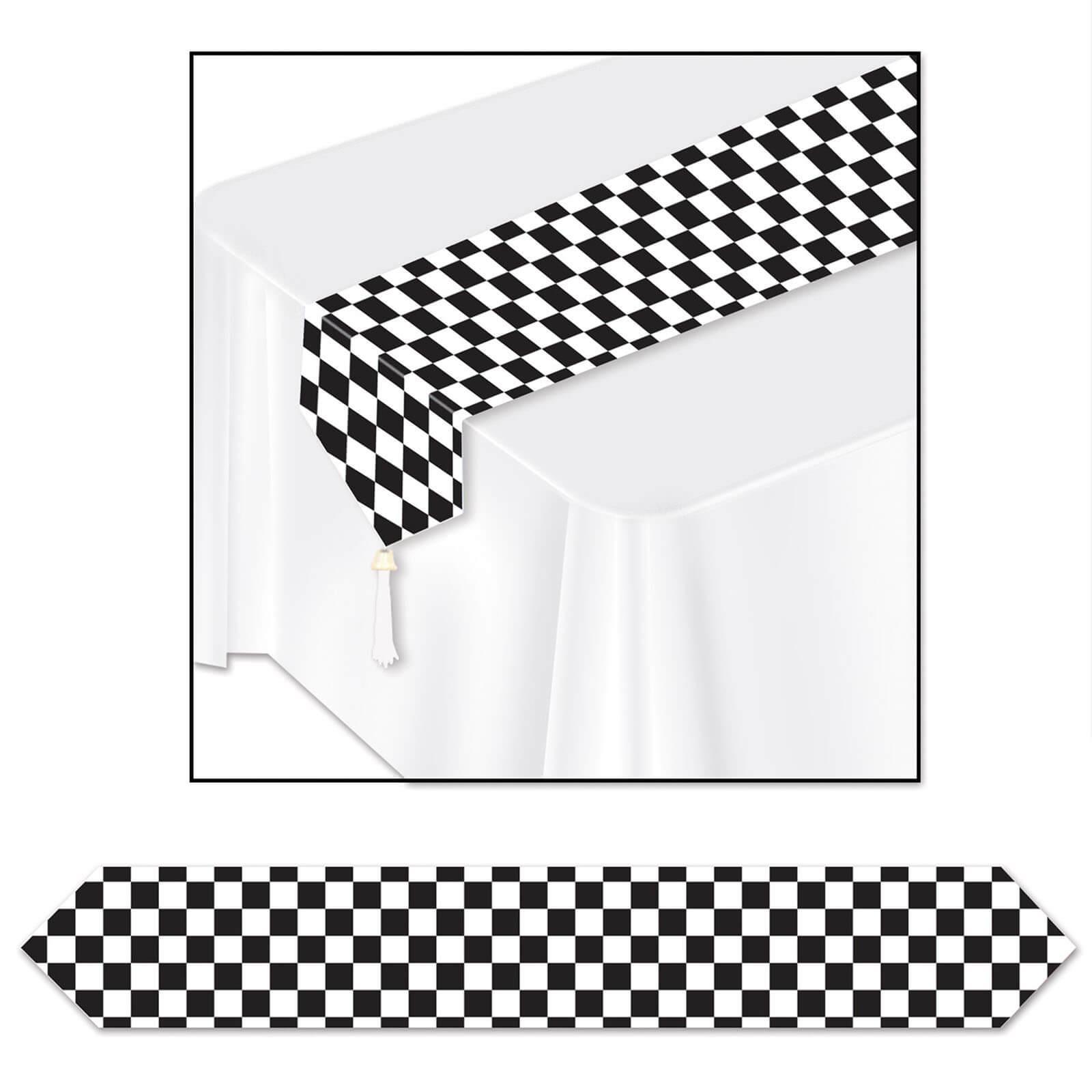 Tischläufer Schwarz Weiß tischläufer - schwarz-weiß - kariert - partydeko & partyar