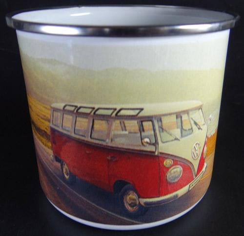 VW Bulli Tasse vintage on the road - retro - emaille
